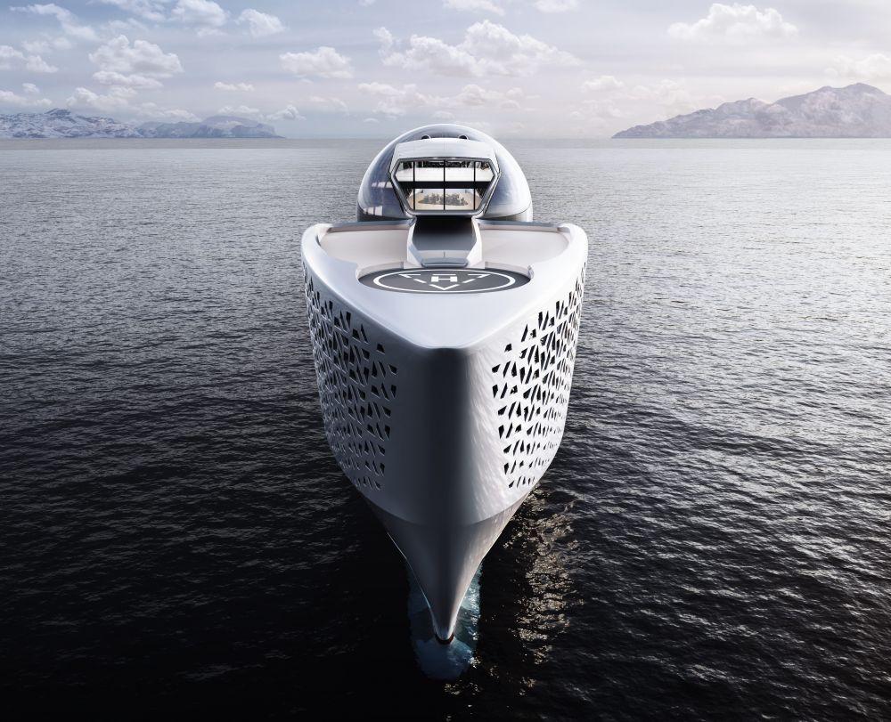 Помимо сферы на судне будет оборудована смотровая площадка, а в носовой части яхты — вертолётная площадка