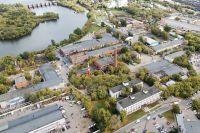 Вид сквадрокоптера натерриторию промзоны №57«Курьяново» наюго-востоке Москвы.