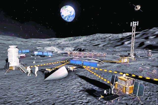 Россия иКитай собираются построить лунную станцию к2035г. Она будет состоять минимум из9строений. Пока речь идёт только опроекте необитаемой лунной станции. Кадр свидеопрезентации «Роскосмоса» иКНКА.