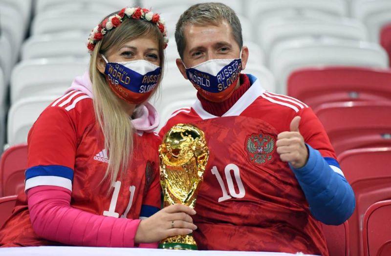Болельщики сборной России перед матчем.