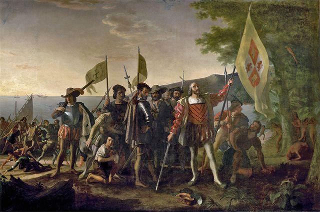 Художник Д. Вандерлин. Высадка Колумба в Америке.