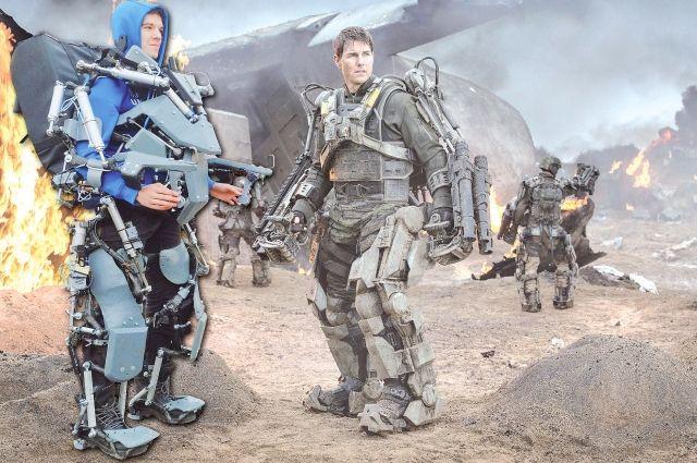 Мы готовы спасать мир. Алексей Ледюков (слева) в своём экзоскелете и Том Круз – в киношном.