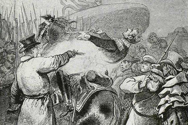 Нанесение смертельной раны Милорадовичу 14декабря 1825года. Гравюра срисунка, принадлежащего Г.А.Милорадовичу.
