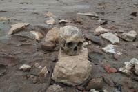 Берег обрушается в среднем сползает на два метра в год, вода продолжает вымывать останки похороненных на старом кладбище людей.